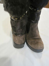 @~Coach Lesly Brown Boots~Signature and Suede w/Fur A7092~Size 7 1/2~LBDLN