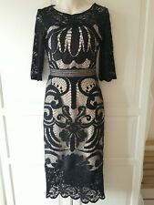 """Phase Eight Black And Nude Lace Cocktail Dress """"Anna"""" Size 8"""