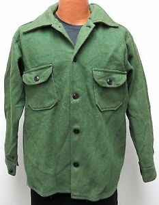 vtg Woolmaster MUTED LIME GREEN Wool Shirt-Jac LARGE 70s Rayon Canada Jacket L