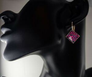 Silver plated cheetah print animal print diamond shaped lever arch earrings gift