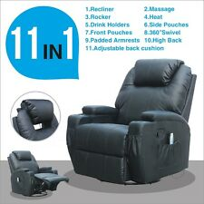Massage Recliner Sofa Black Lounge Ergonomic Swivel Chair Heated W/Control