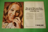 1970 Original Advertising' Vintage Iran Air The Airline of Persia 30.000 Miles