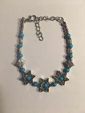 Tibet silver  jade turquoise bead bracelet WITH STARS-B397