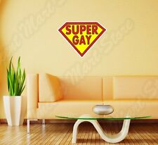 "Super Gay LGBT Lesbian Funny Wall Sticker Room Interior Decor 25""X20"""
