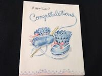 #744 Precious Vintage 1947 Baby Greeting Card Crocheted Blue Booties