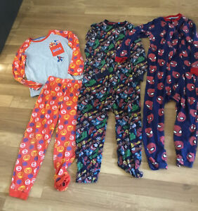 Spider-Man Marvel Superheroes All In One Pyjama  Bundle X 3 Age 7-8 Zip Up