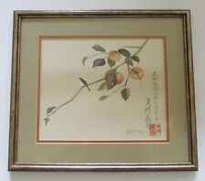 Y Sainnon Original Watercolor Painting Asian Bird in Persimmon Tree 1977