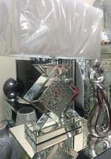 Cristallo specchiato con galleggiante lampada da tavolo, con specchio lampada da comodino paralume bianco
