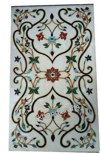Marble Patio Sofa Table Top Inlay Floral Pattern Coffee Table Size 24 x 48 Inch