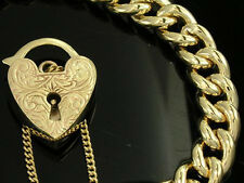 HEAVY Genuine 9K 9ct SOLID Gold CURB Link Heart Padlock Bracelet Curblink 40gr