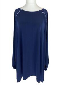 Joanna Hope Navy Blue Jersey Style Dress w/Diamante Zip UK Size 20. Immaculate.