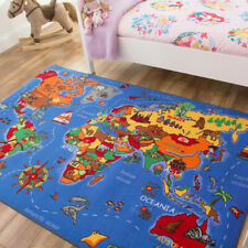 Kids Fun Educational Geography Blue World Map | Childrens Bedroom Rug Mat