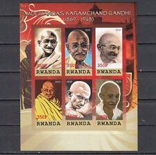 Rwanda, 2010 Cinderella issue. Mahatma Gandhi, IMPERF sheet of 6.