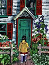 Cottage Garden African American child Painting GICLEE PRINT ,Flowers,Home,Girl