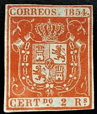 SPAIN 1854 SCOTT# 28 ☆ 2 REALES w-SLAB ☆ MNG-NO GUM - ☆ RARE ☆ $2500