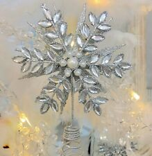 Silver Glitter Rhinestone Xmas Snowflake Tree Topper Shabby Decoration Chic
