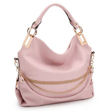 Women Handbags Hobo Large Shoulder Bag Purse w/ Weaved Golden Chain Strap
