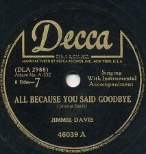 78 - 14BB - HILLBILLY - DECCA 46039 - JIMMIE DAVIS