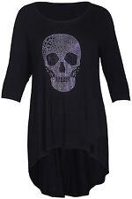 Womens Diamante Skull Ladies 3/4 Sleeves Dipped Hem T-Shirt Black Top Plus Size