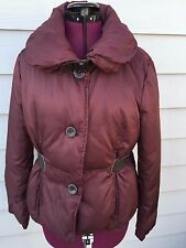 Kenneth Cole Down Coat jacket Coat -Sz 8- burgundy - Belted Faux leather Accents