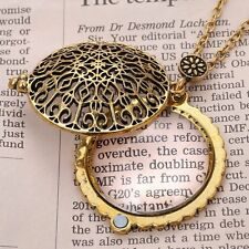 Unique Hollow Out Vintage Gold Magnifying Glass Pendant Grandma Chain Necklace