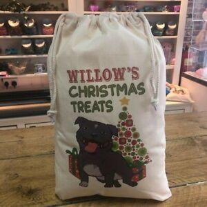 Personalised Dog Santa Sack - Grey Staffie  - Willow Design