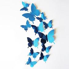 12 x 3D Buttefflies Mirrored Blue Stick On Wall Art Decal Fun Decoration. 1798