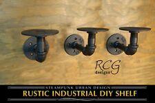 """Three 2x3"""" L Brackets DIY Pipes (6""""-8"""" deep shelf) urban steampunk rustic decor"""