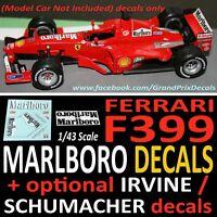 F1 Ferrari F399 Salo / Irvine / Schumacher Marlboro water slide DECALS 1999 1:43