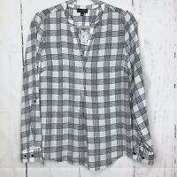 NWT The Limited Size M Top Blouse Plaid White Black Split Neck Long Tab Sleeves