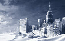Framed Print - Global Warming Winter Apocalypse Cityscape (Picture Poster Art)