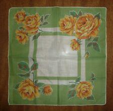 Vintage Hankie Original Brumel Tag Yellow /& White Roses Large 16 inches