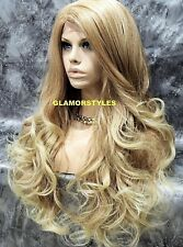 Human Hair Blend Long Wavy Blonde Mix Lace Front Full Wig Hair Piece #T27/613