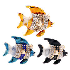 Enamel Fish Crystal Rhinestone Brooch Pin Collar Badge Bouquet Animal Broo CRAU
