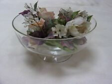Glass Compote/Floating Candle Holder with Flower Ring