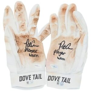 """PETE ALONSO Autographed """"Player Worn"""" White Game Used Batting Gloves FANATICS"""