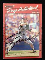 TERRY MULHOLLAND 1990 DONRUSS Autograph Signed AUTO Baseball Card 515 PHILLIES