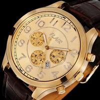 XXL Herren Armbanduhr aus Stahl in Gold, Uhr mit braunem Lederarmband von FLAIR