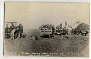 Threshing machines farm field, Glenburn, North Dakota; photo postcard RPPC