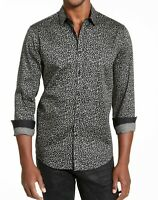 INC Mens Shirt Gray Size XL Button Up Caden Abstract Print Stretch $65 #048