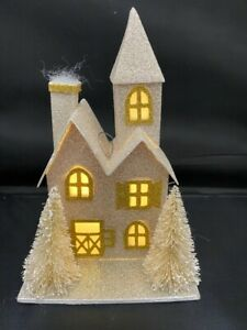 NEW Pottery Barn Lit German Glitter Victorian Ornament House Christmas Tree NWT