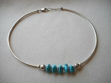 Sterling Silver Turquoise Nugget Tube Necklace  180263