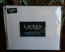 Ralph Lauren QUEEN Sheet Set Medallion Gray Cotton Extra Deep Fitting 4 PCS NEW