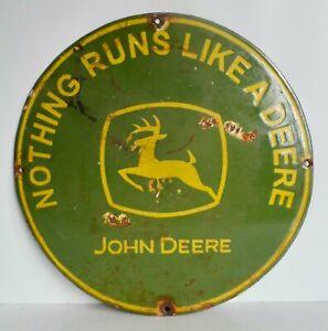 EXTREMELY RARE ANTIQUE PORCELAIN JOHN DEERE SIGN - OLD ENAMEL SIGN CIRCA 1920's
