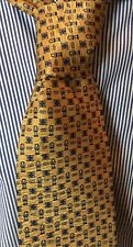 Daniel De Fasson Mens 100% Silk Geometric Gold Gray Brown Hand Made Tie