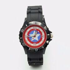 Captain America Shield Logo Black Silicone Band WRIST WATCH