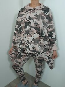 Lounge Wear 2 Pcs Hoodie Camouflage Joggers Comfy Stretchy Track Suit Stars Long