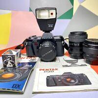 PENTAX P30 35mm FILM SLR Camera Kit Working Tested 50mm F:/ 2 Lens, Flash Lomo