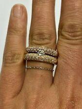 Bague Double Jonc Solitaire Diamant 2 Or Jaune/rose 18 carats