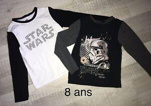STAR WARS  8 ANS Garçon: LOT 2 T SHIRTS ML TBE